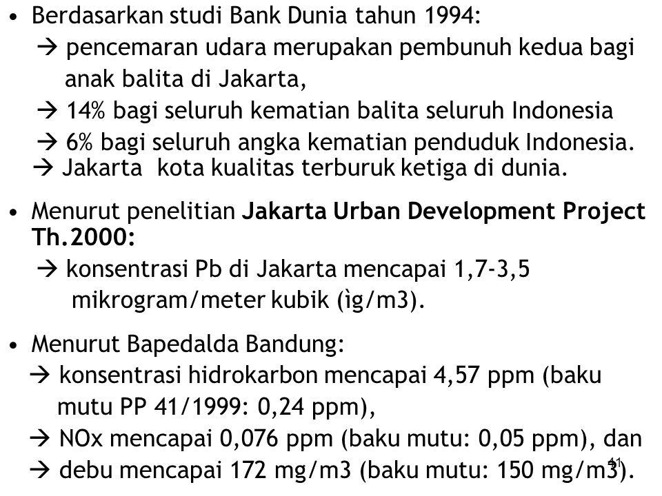 Berdasarkan studi Bank Dunia tahun 1994: