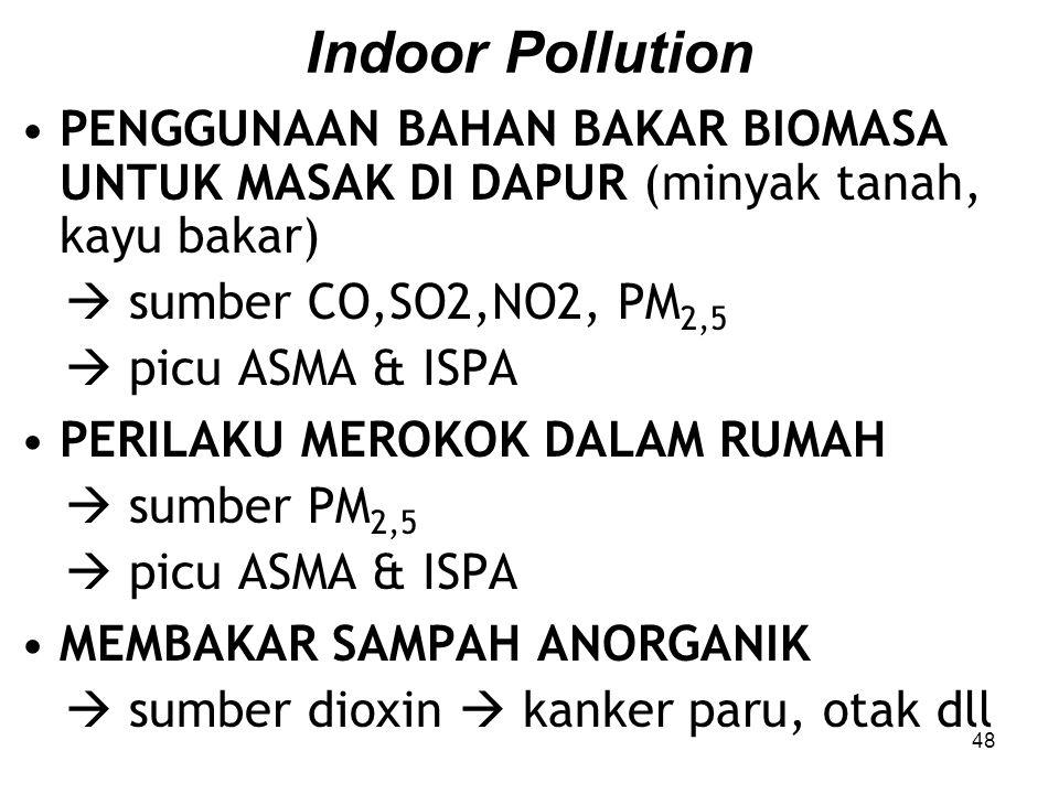 Indoor Pollution PENGGUNAAN BAHAN BAKAR BIOMASA UNTUK MASAK DI DAPUR (minyak tanah, kayu bakar)  sumber CO,SO2,NO2, PM2,5.