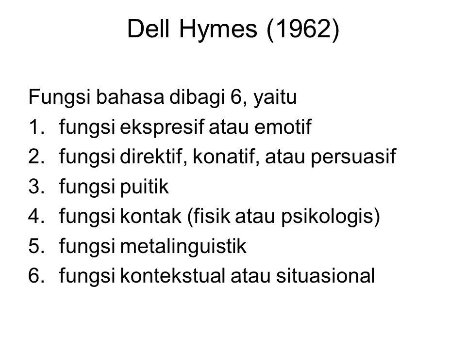 Dell Hymes (1962) Fungsi bahasa dibagi 6, yaitu