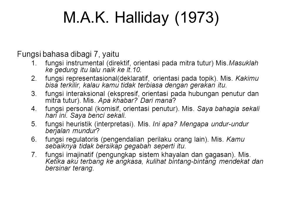M.A.K. Halliday (1973) Fungsi bahasa dibagi 7, yaitu