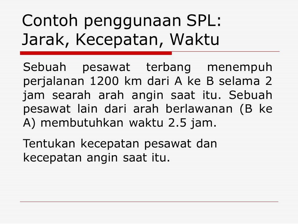 Contoh penggunaan SPL: Jarak, Kecepatan, Waktu