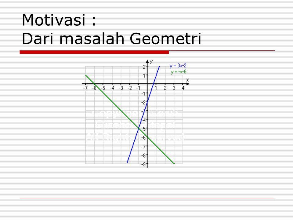 Motivasi : Dari masalah Geometri