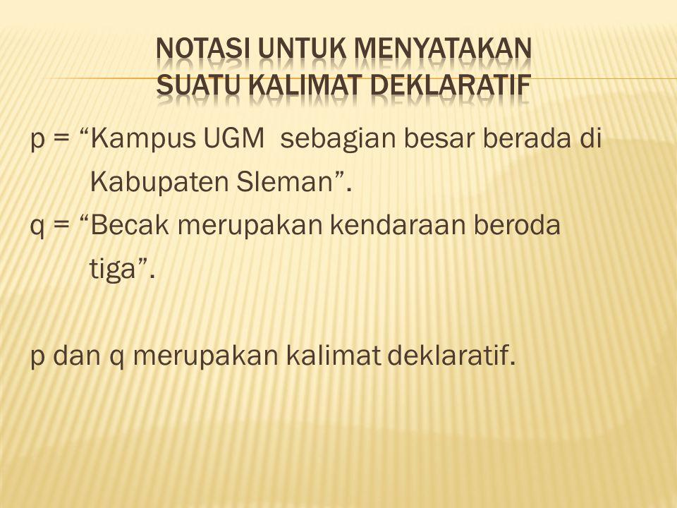 Notasi untuk menyatakan suatu kalimat deklaratif