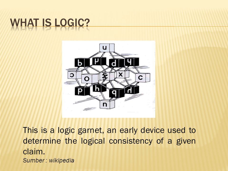What is logic This is a logic garnet, an early device used to determine the logical consistency of a given claim.