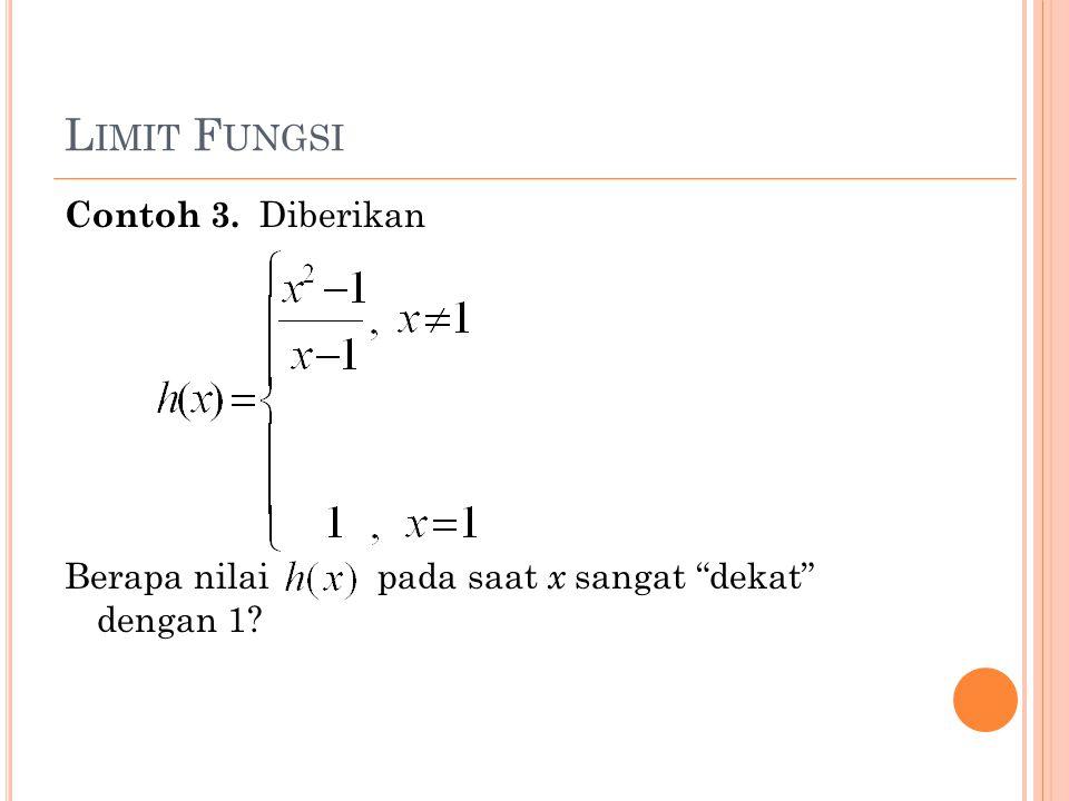 Limit Fungsi Contoh 3. Diberikan Berapa nilai pada saat x sangat dekat dengan 1