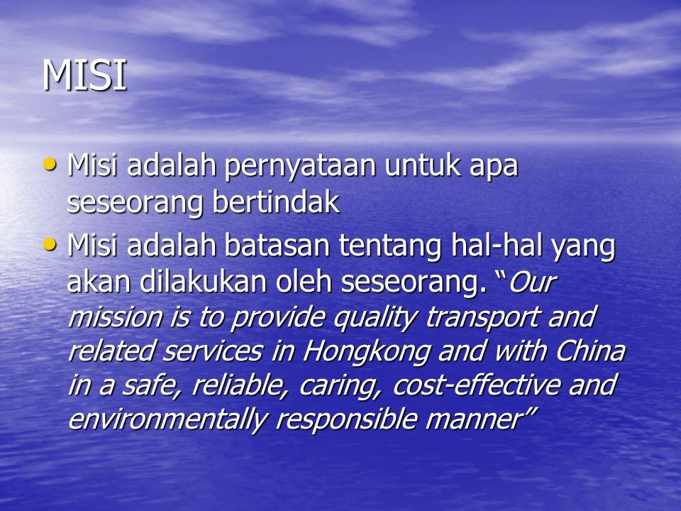 MISI Misi adalah pernyataan untuk apa seseorang bertindak
