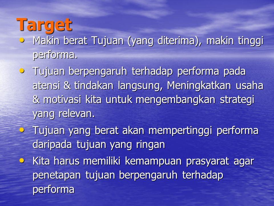 Target Makin berat Tujuan (yang diterima), makin tinggi performa.