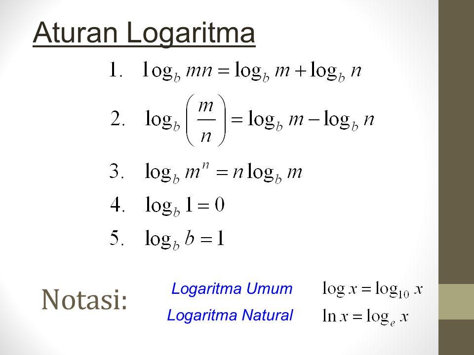 Aturan Logaritma Notasi: Logaritma Umum Logaritma Natural