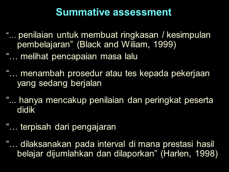 Summative assessment … melihat pencapaian masa lalu