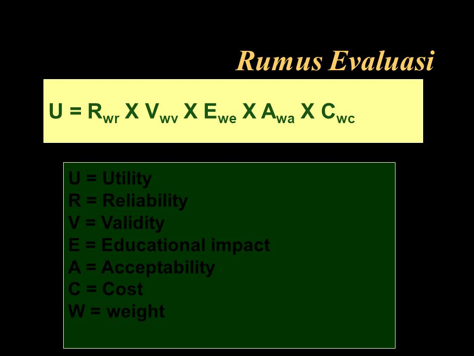Rumus Evaluasi U = Rwr X Vwv X Ewe X Awa X Cwc U = Utility