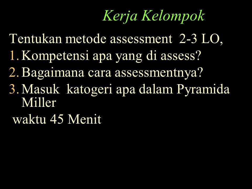 Kerja Kelompok Tentukan metode assessment 2-3 LO,