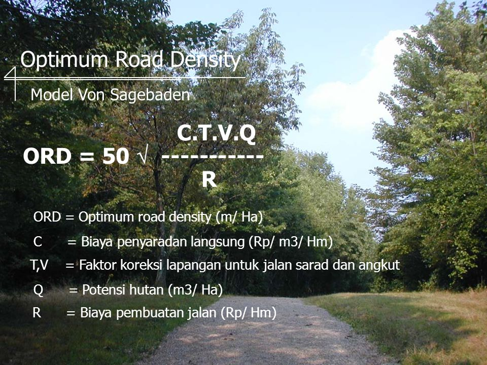 Optimum Road Density C.T.V.Q ORD = 50  ----------- R