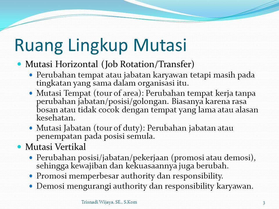 Ruang Lingkup Mutasi Mutasi Horizontal (Job Rotation/Transfer)