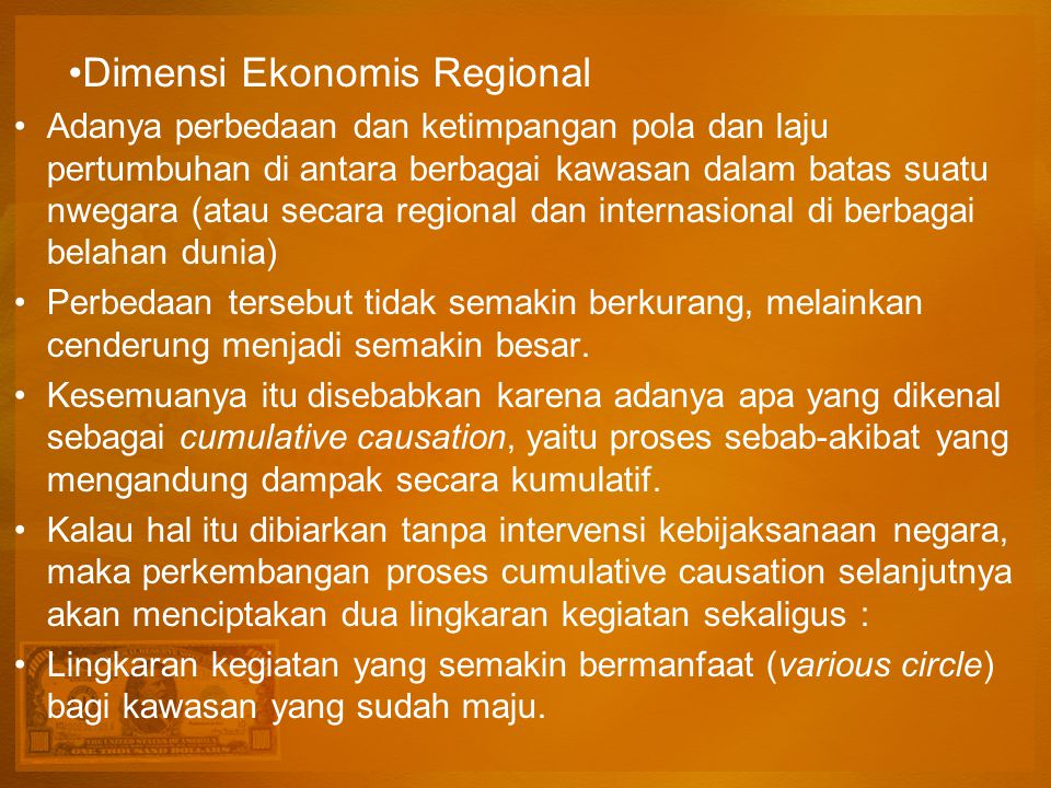 Dimensi Ekonomis Regional