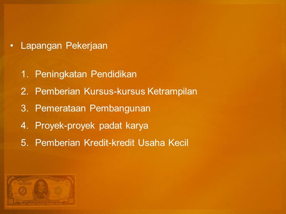Lapangan Pekerjaan Peningkatan Pendidikan. Pemberian Kursus-kursus Ketrampilan. Pemerataan Pembangunan.