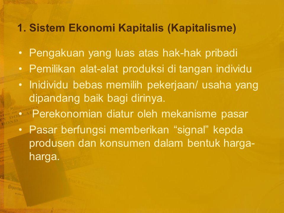 1. Sistem Ekonomi Kapitalis (Kapitalisme)