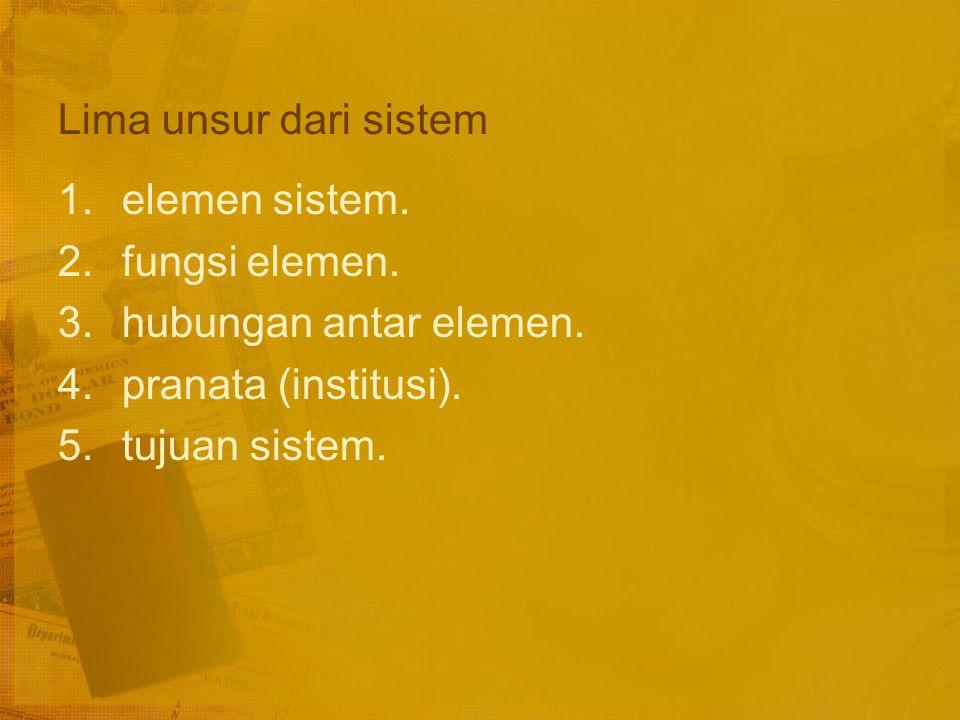 Lima unsur dari sistem elemen sistem. fungsi elemen. hubungan antar elemen. pranata (institusi).