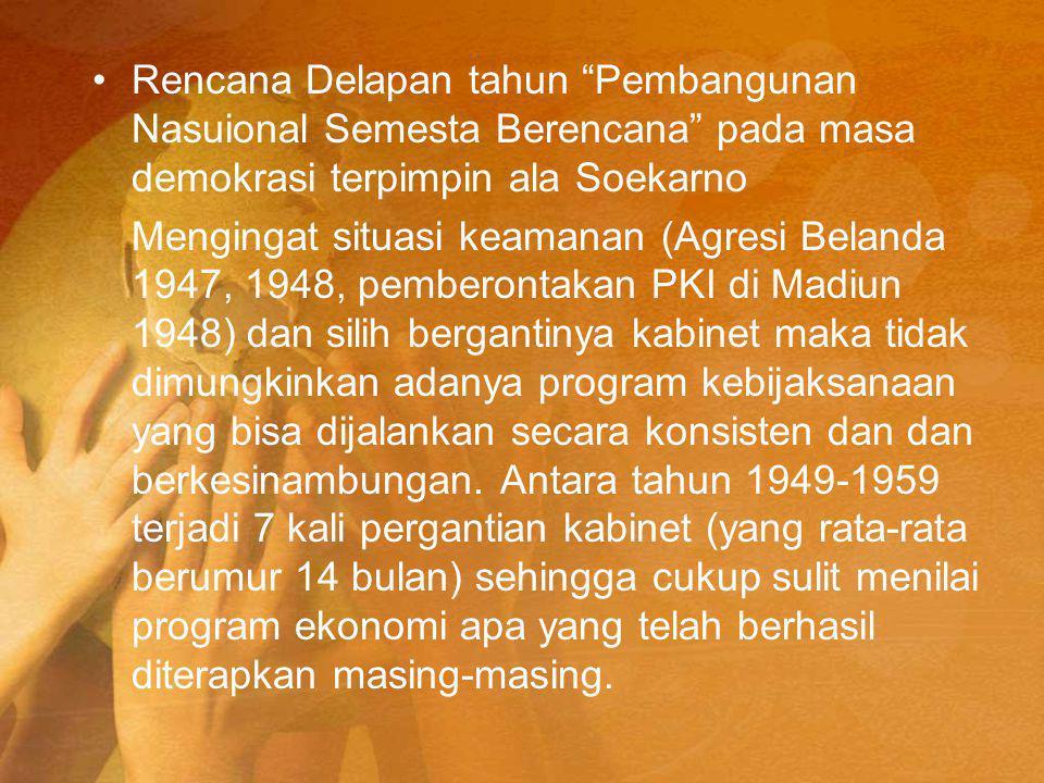 Rencana Delapan tahun Pembangunan Nasuional Semesta Berencana pada masa demokrasi terpimpin ala Soekarno