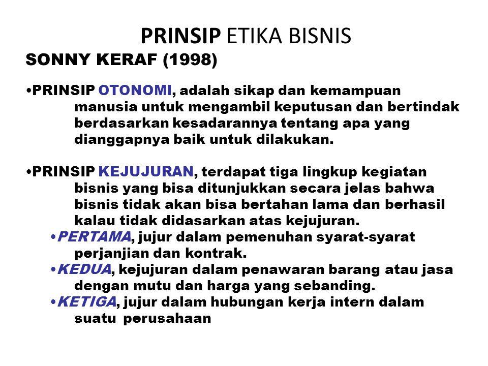PRINSIP ETIKA BISNIS SONNY KERAF (1998)
