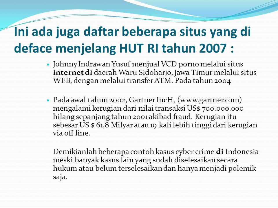 Ini ada juga daftar beberapa situs yang di deface menjelang HUT RI tahun 2007 :