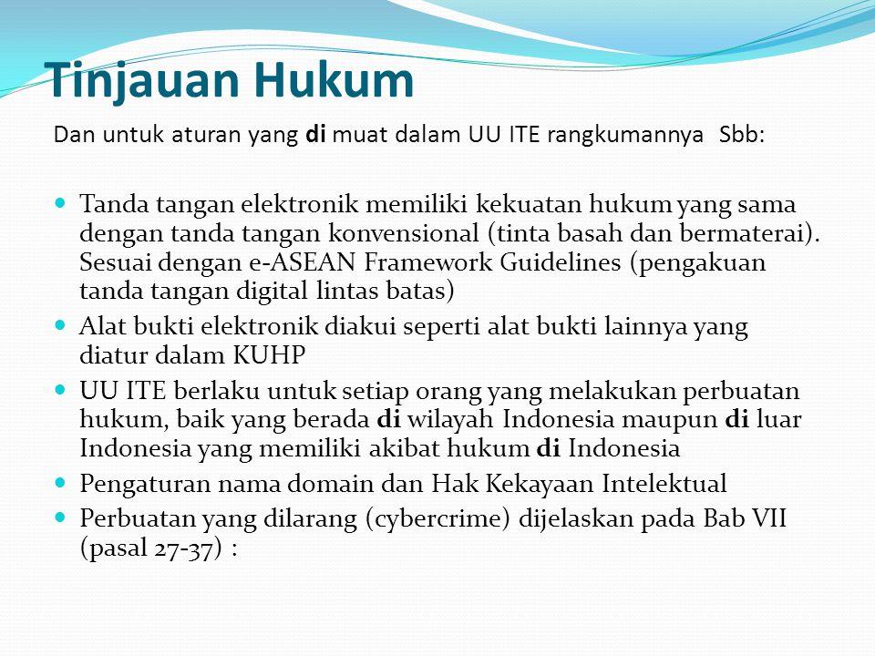 Tinjauan Hukum Dan untuk aturan yang di muat dalam UU ITE rangkumannya Sbb: