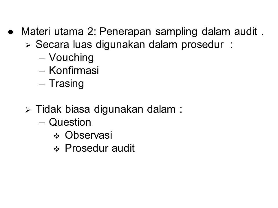 Materi utama 2: Penerapan sampling dalam audit .