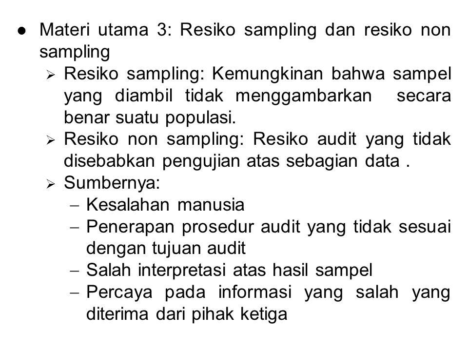 Materi utama 3: Resiko sampling dan resiko non sampling