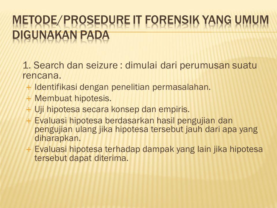 Metode/prosedure IT Forensik yang umum digunakan pada