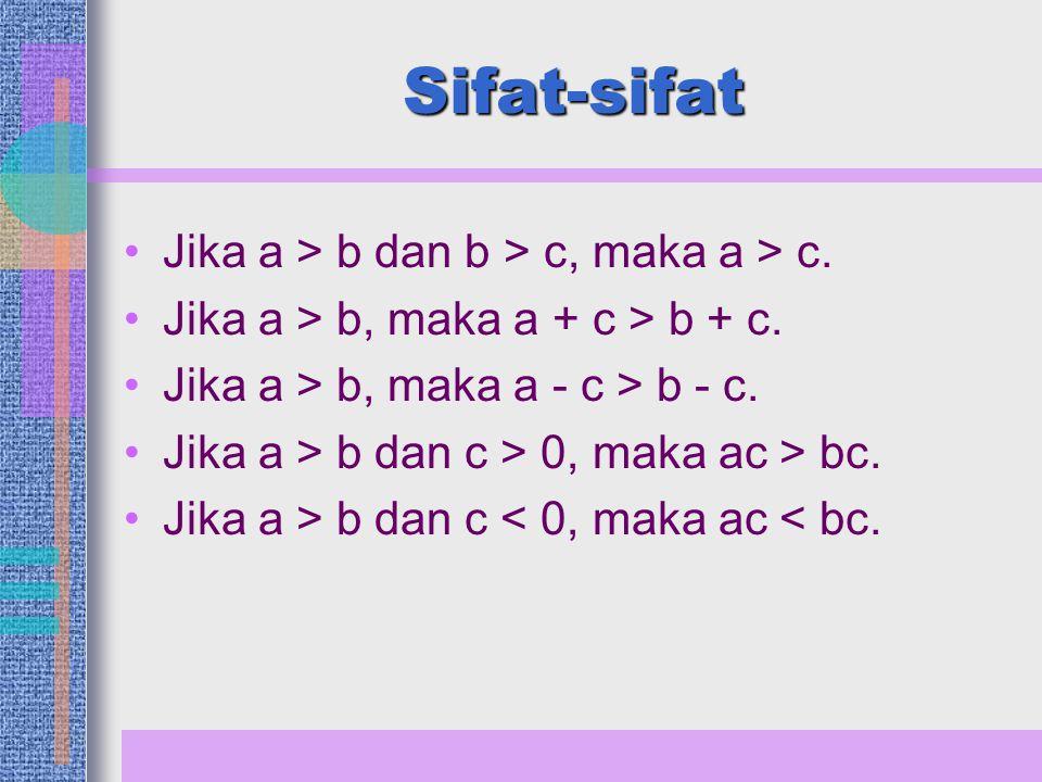 Sifat-sifat Jika a > b dan b > c, maka a > c.