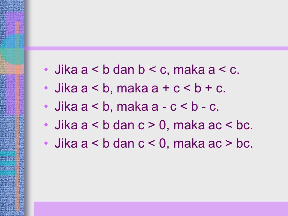 Jika a < b dan b < c, maka a < c.