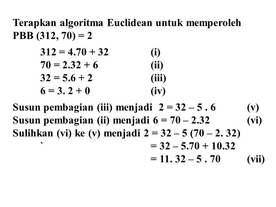 Terapkan algoritma Euclidean untuk memperoleh