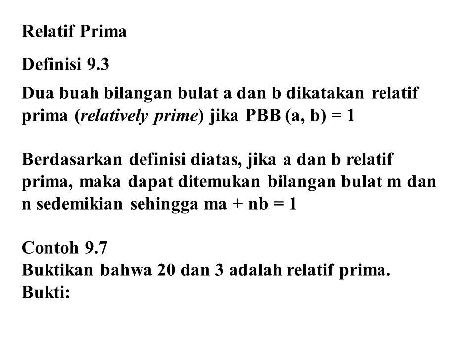 Relatif Prima Definisi 9.3. Dua buah bilangan bulat a dan b dikatakan relatif prima (relatively prime) jika PBB (a, b) = 1.