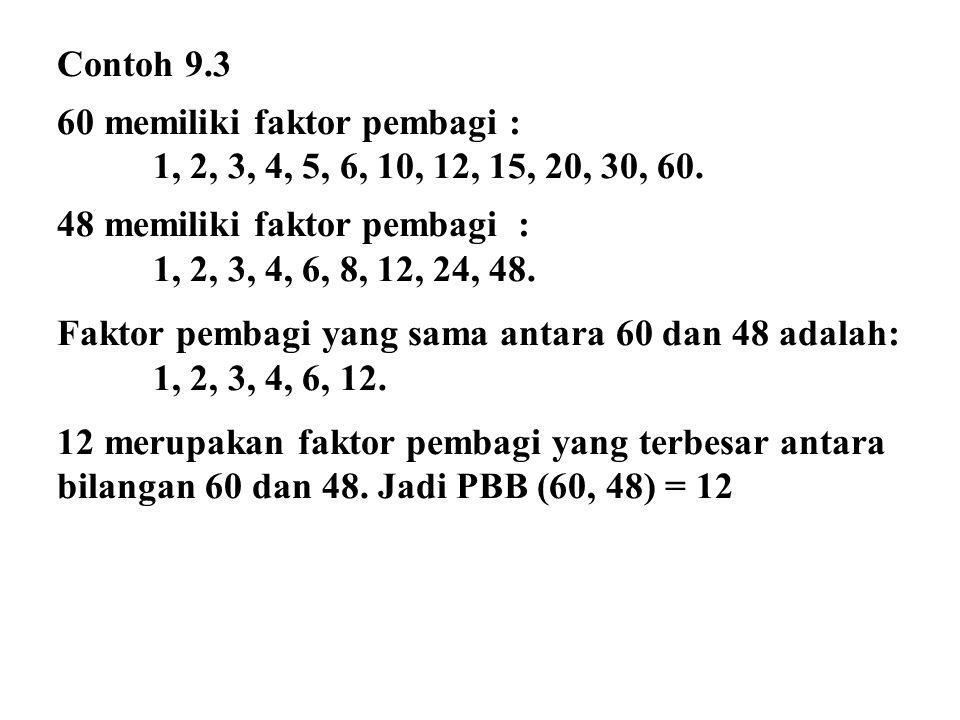 Contoh 9.3 60 memiliki faktor pembagi : 1, 2, 3, 4, 5, 6, 10, 12, 15, 20, 30, 60. 48 memiliki faktor pembagi :