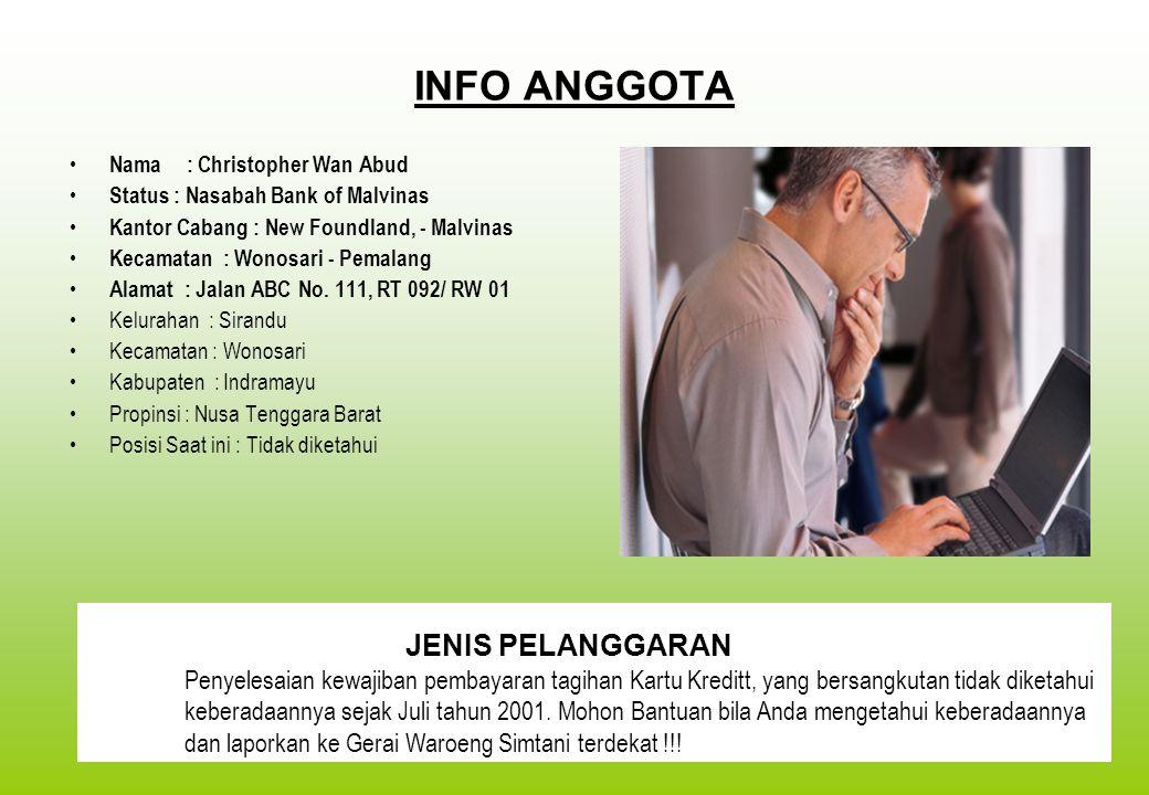 INFO ANGGOTA Nama : Christopher Wan Abud