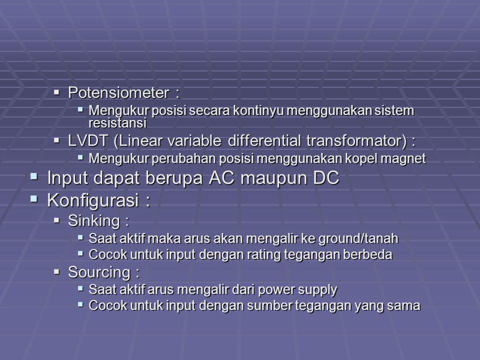 Input dapat berupa AC maupun DC Konfigurasi :