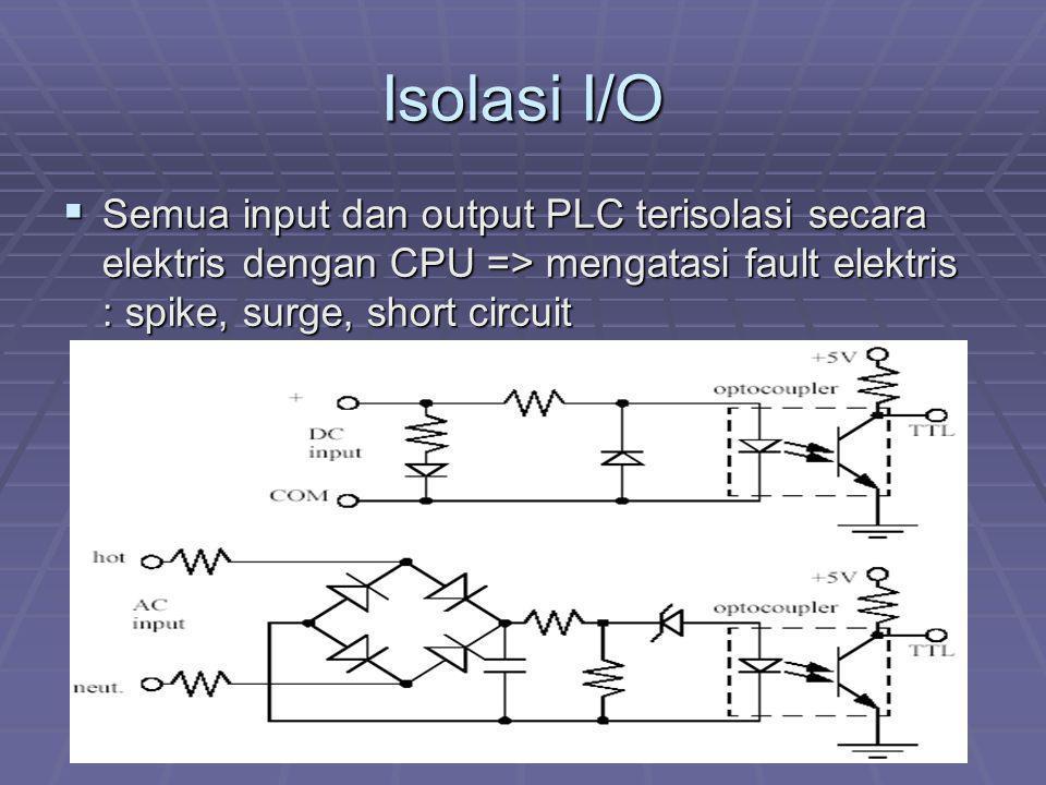 Isolasi I/O Semua input dan output PLC terisolasi secara elektris dengan CPU => mengatasi fault elektris : spike, surge, short circuit.