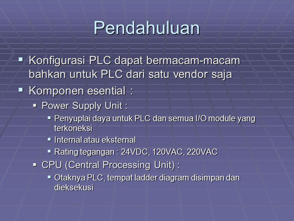 Pendahuluan Konfigurasi PLC dapat bermacam-macam bahkan untuk PLC dari satu vendor saja. Komponen esential :