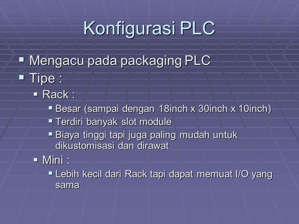 Konfigurasi PLC Mengacu pada packaging PLC Tipe : Rack : Mini :