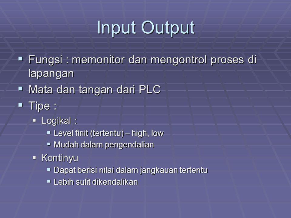 Input Output Fungsi : memonitor dan mengontrol proses di lapangan