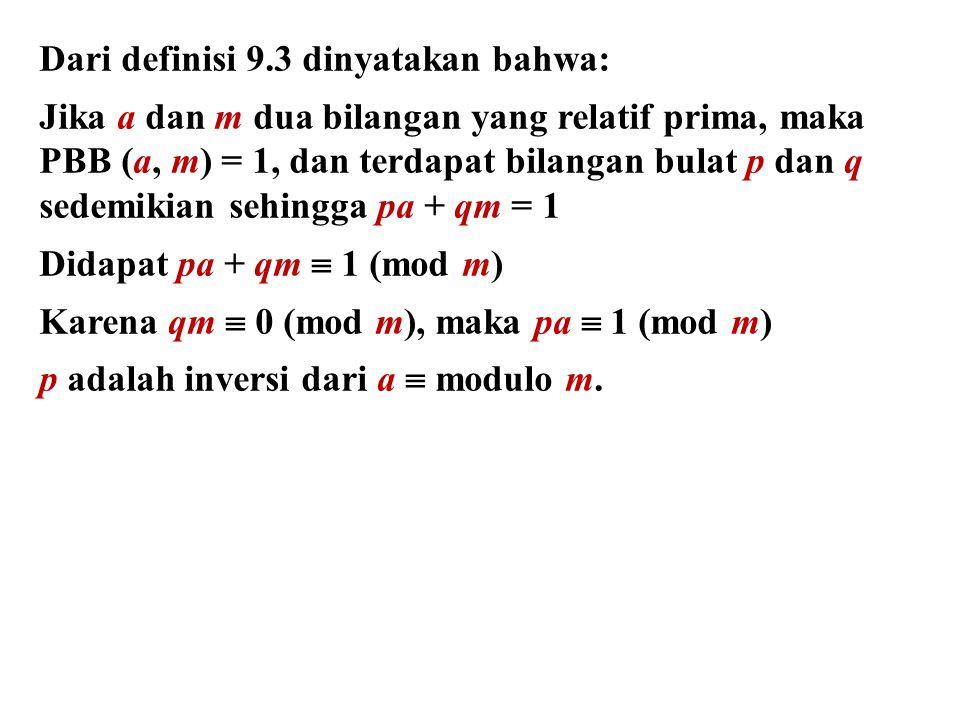 Dari definisi 9.3 dinyatakan bahwa: