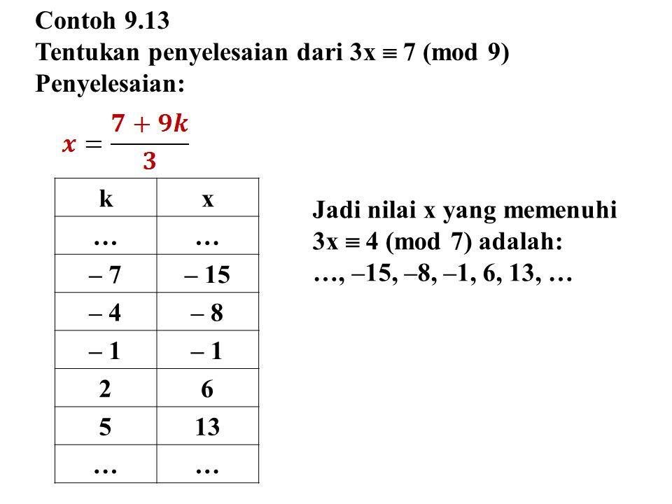 Contoh 9.13 Tentukan penyelesaian dari 3x  7 (mod 9) Penyelesaian: k. x. … – 7. – 15. – 4. – 8.