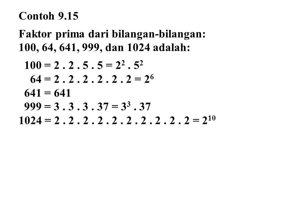 Contoh 9.15 Faktor prima dari bilangan-bilangan: 100, 64, 641, 999, dan 1024 adalah: 100 = 2 . 2 . 5 . 5 = 22 . 52.