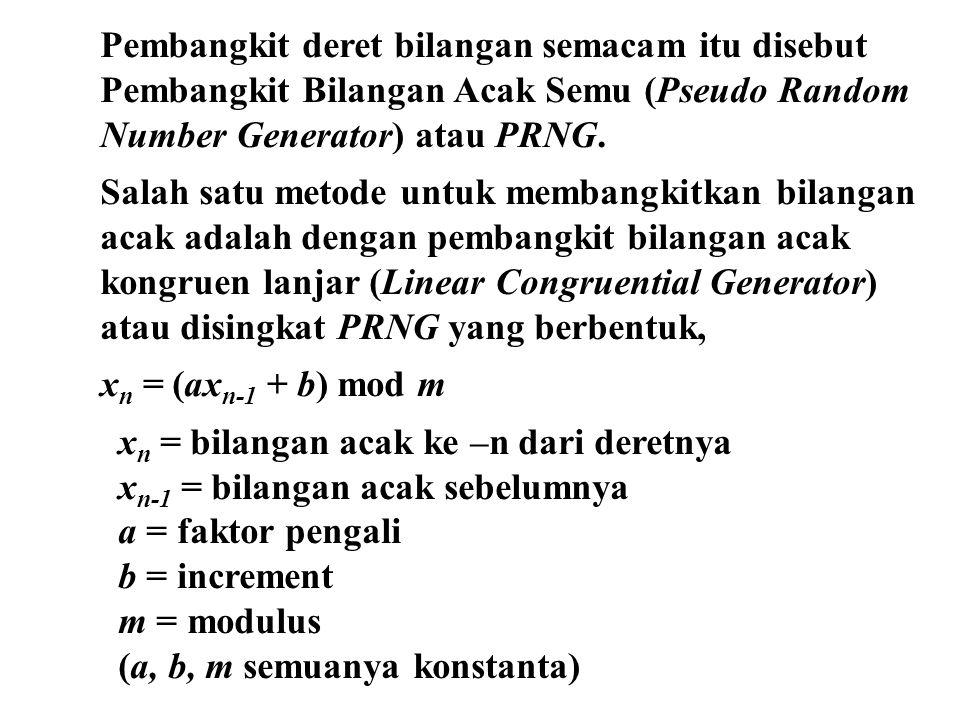 Pembangkit deret bilangan semacam itu disebut Pembangkit Bilangan Acak Semu (Pseudo Random Number Generator) atau PRNG.