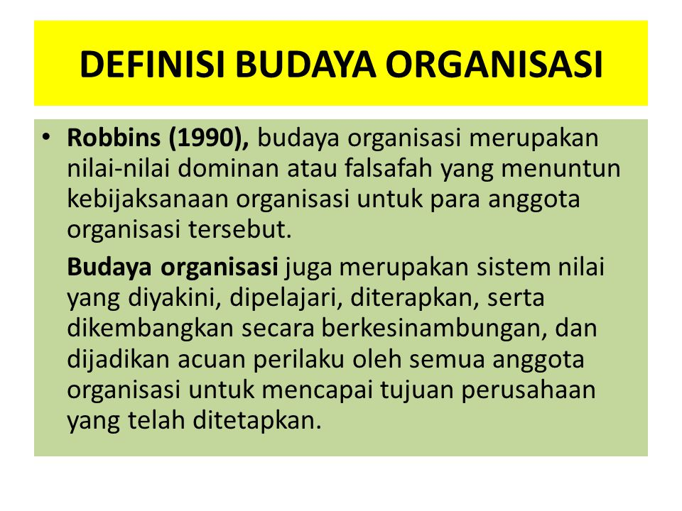 DEFINISI BUDAYA ORGANISASI