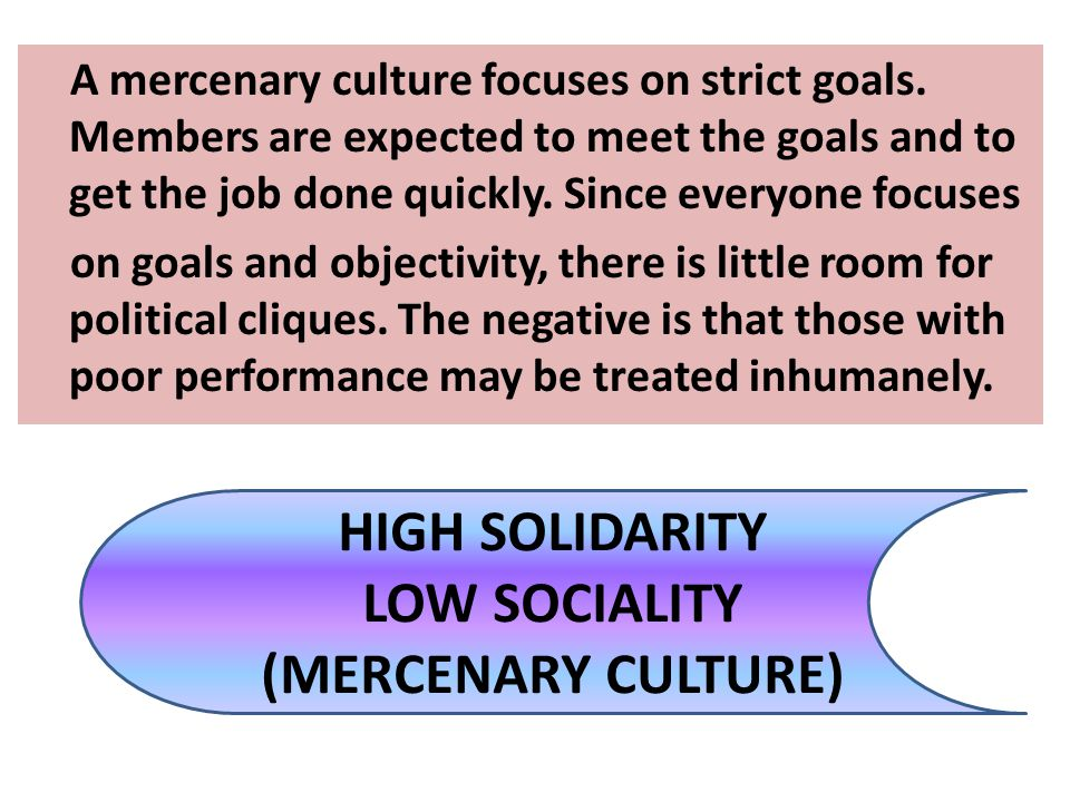 HIGH SOLIDARITY LOW SOCIALITY (MERCENARY CULTURE)