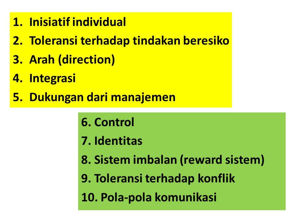Inisiatif individual Toleransi terhadap tindakan beresiko. Arah (direction) Integrasi. Dukungan dari manajemen.