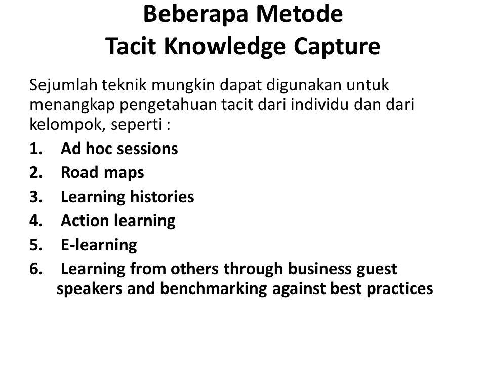 Beberapa Metode Tacit Knowledge Capture