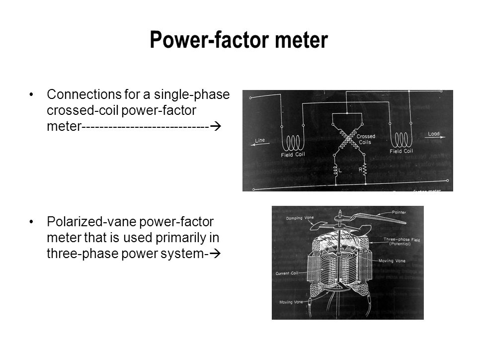 Power-factor meter Connections for a single-phase crossed-coil power-factor meter-----------------------------