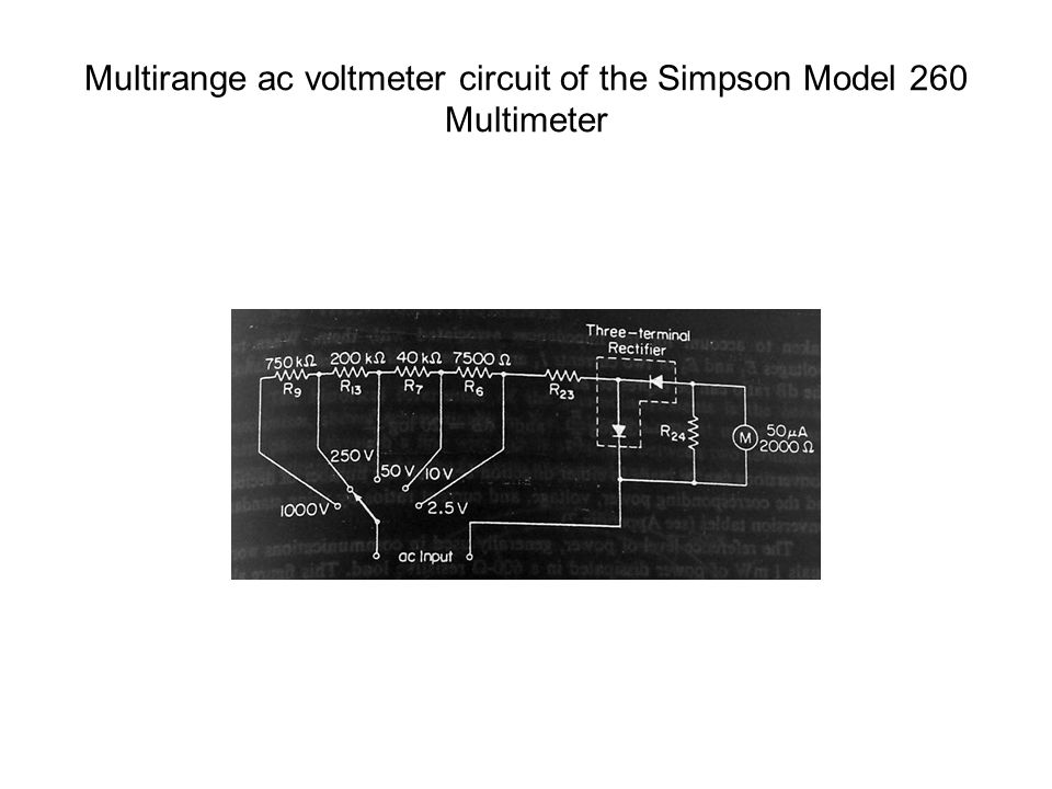 Multirange ac voltmeter circuit of the Simpson Model 260 Multimeter