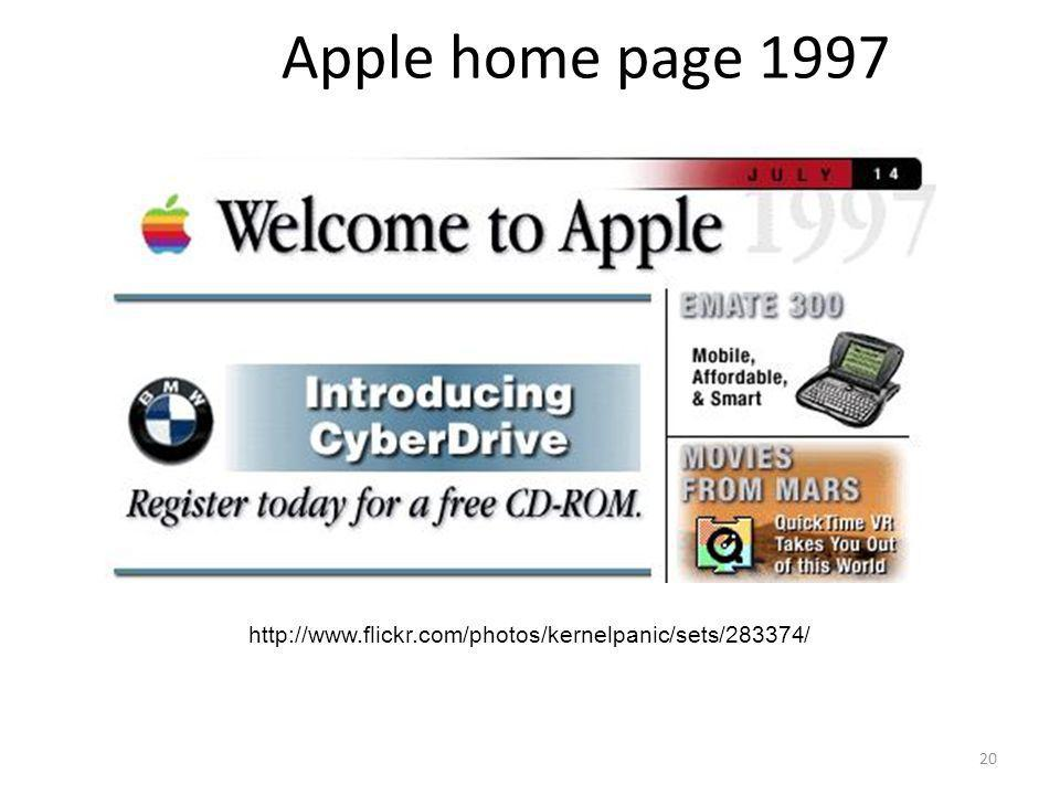 Apple home page 1997 http://www.flickr.com/photos/kernelpanic/sets/283374/